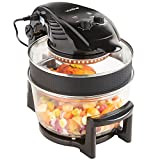 VonShef Halogen Oven Air Fryer with Hinged Lid - 12L inludes Full Accessories Pack, Timer & Extender Ring with Silicone Protector Band - 1400W - Black