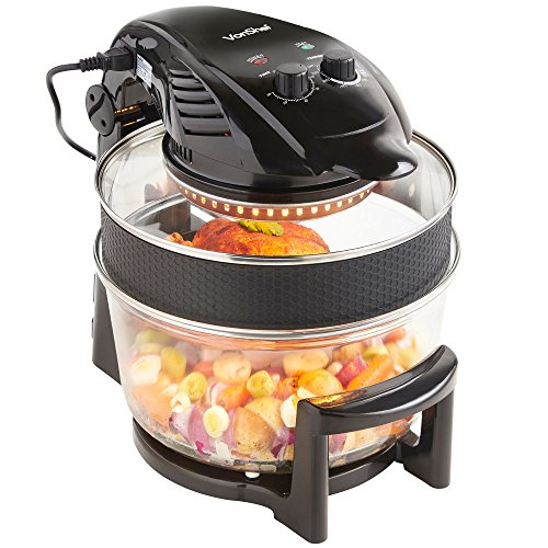 VonShef Halogen Oven Air Fryer with Hinged Lid � 12L inludes Full Accessories Pack, Timer & Extender Ring with Silicone Protector Band � 1400W - Black