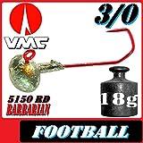 VMC Jighaken Jigkopf Football Eierkopf Größe 3/0 18g 5 Stück im Set