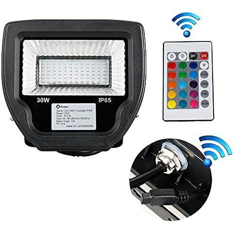 GOGO Go faretto LED RGB esterno IP65impermeabile con telecomando 30W ricambio per 150W proiettore 80% di risparmio energetico LED RGB piantana farbwechselhafte–Luce di sicurezza LED–faro LED außenleuchten, Alluminio, 1 pezzo 30.00 wattsW 240.00 voltsV