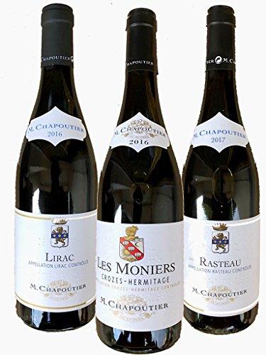 Grands Vins Terroir du Rhone Par Chapoutier - Crozes Hermitage Les Moniers - Lirac - Rasteau - 3 x 75 Cl