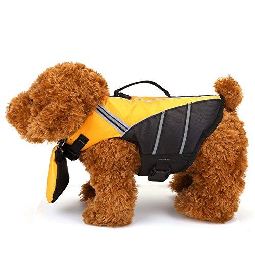 Mogoko Haustier Hund Schwimmhilfe für Hunde Doggy Rettungsweste Float Coat Wassersport Schwimmweste Hundeweste Hunde-Schwimmweste Storm mit Griff und Reflektoren Rosa Blau Gelb XS S M (M, Gelb)