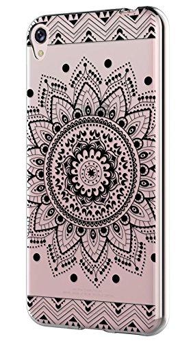 Sunrive Asus ZenFone Live ZB501KL Hülle Silikon, Transparent Handyhülle Schutzhülle Etui Case Backcover für Asus ZenFone Live ZB501KL(TPU Blume Schwarze)+Gratis Universal Eingabestift