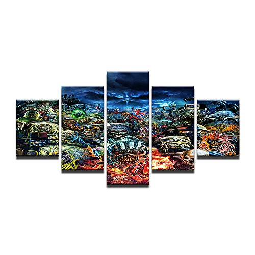 Fbhfbh ZombieHorror Bilder Gedruckt HD Poster Für Wand Dekoration Wohnzimmer 5 Stücke Modulare Öl Leinwand Malerei-16x24/32/40inch,With frame (Von Halloween-gesicht-malerei Zombies)