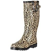 Flat Festival Wellies Knee High Wide Calf Rain Boots Leopard UK 4