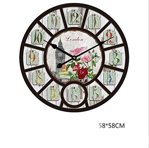 Lozse stile europeo, creativo, silenzioso, orologio da parete, salone, orologio da parete, decorazione, retro, orologio da parete 58cm