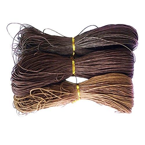 Meter Wachsschnur Wachsband Gewachste Baumwollkordel Wachskordel Schmuckband Baumwolle Seil Schnur Schmuck herstellung Armband 1mm - Dunkler Kaffee + Kaffee + Leichter Kaffee, 3 Stück 80 Meter (Seil-armband-herstellung)