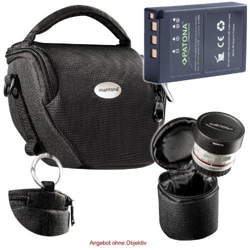 KIT MANTONA VARIO DUO schwarz Kameratasche mit separatem Objektivköcher + PATONA PREMIUM Akku für Olympus BLS-5 BLS-50 (echte 1100mAh) für Olympus PEN E-PL2 E-PL3 E-PL5 E-PL6 E-PL7 E-PL8 E-PL9 E-P3 E-PM1 E-PM2