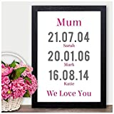 PERSONALISED Christmas Gifts for Mum Mummy Mother - We Love You Dates of Birth - PERSONALISED with ANY NAME and ANY RECIPIENT - Black or White Framed A5, A4, A3 Prints or 18mm Wooden Blocks