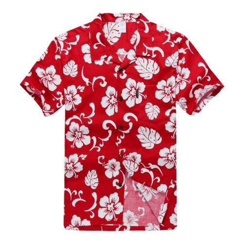 Hombres-Aloha-camisa-hawaiana-en-Hibisco-Rojo-4XL