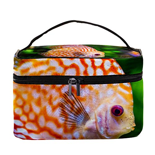 Indimization Discus Fish Cosmetic Bag, Portable Large Travel Toiletry Bag,Makeup Case Organizer Storage with Large Capacity for Women Portable Discus