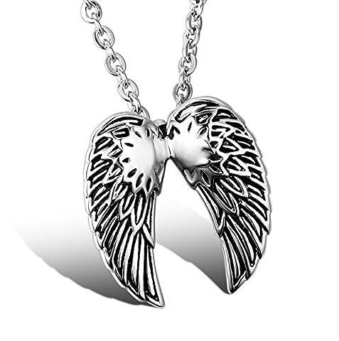 JewelryWe Bijoux Pendentif Collier Mixte Plume Aile d'Ange Acier Inoxydable Fantaisie pour Homme et Femme Couleur Noir Argent Longueur Chaîne 22