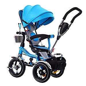 4-In-1 Stroller Trike Bike Folding Tricycle With 360° Rotating Seat And Safety Harness Baby Trike For 6 Months - 5 Years Old Blue   3