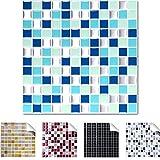 4er Pack 25,3 x 25,3 cm schwarz weiß silber Design 1 I 3D Fliesenaufklebergroße Mosaik Auswahl für Küche Bad Fliesenfolie selbstklebend Wandaufkleber Wandaro W3329