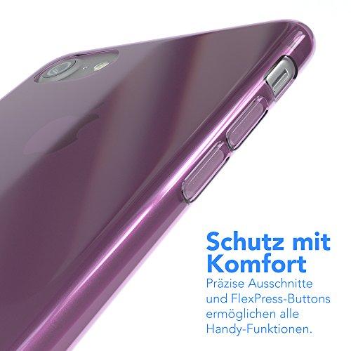 "EAZY CASE Handyhülle für Apple iPhone 8, iPhone 7 Hülle - Premium Handy Schutzhülle Slimcover ""Clear"" - Transparentes Silikon Backcover in in Klar / Durchsichtig Lila"