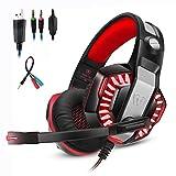 Mengshen Casque De Jeu StéRéO 3,5 Mm - Avec Micro Et Led Pour PC, PS4 Et Xbox One - ConçU Pour Ordinateur Gamer, GM2 Red