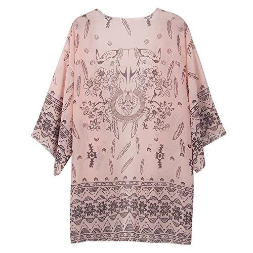 Honeystore Damen Boho Drucken Chiffon Schal Kimono Cardigan 3/4 Ärmel Tops Bluse Cover up Rosa