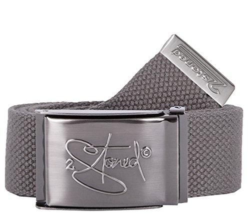 2Stoned Gürtel Canvas Belt Grau, matte Schnalle Geprägt, 4 cm breit, Hosengürtel für Damen und Herren -