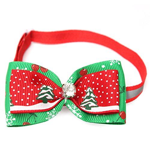 Kungfu Mall Einstellbare Fliege Weihnachten Haustier Hund Katze Bowtie Krawatte Kragen Weihnachtsbaum Hunde Katzen Halsband Dekoration Bow Tie Collar.