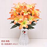 Künstliche BlumeFloral Flower Bonsai Flower Flower Fridge Fridge Room Room Decoration,Red Lilies - Orange