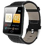 AFDK Smart Watch Ck19, Rastreador de actividad física a prueba de agua, Monitor de oxígeno en sangre/Contador de pasos, Reloj deportivo con Android e Ios - Tres colores,negro