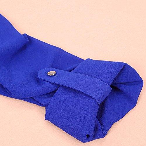 Tonsee® Femmes Printemps été Col en Mousseline de Soie manches longues Casual Chemise Blouse Bleu