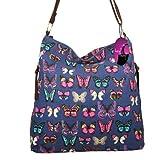 Hey Hey Handbags - Large Across Body Shoulder Handbag (ROSES Dark Blue - Canvas)