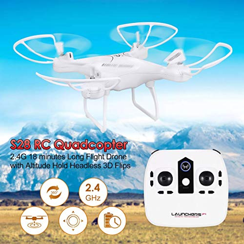 Fghdf Fit S28 RC Drohne 2,4G Quadrocopter-Flugzeuge mit Höhenrückstellung Rückkopplung Headless 3D Flips 18 Minuten Langer Flug