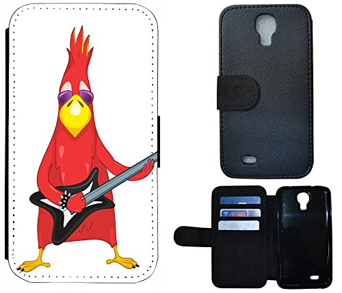 Kuna2 Flip Cover Schutz Hülle Handy Tasche Etui Case für (Samsung Galaxy S4 Mini i9190 i9195, 1009 Vogel Bird rot mit Gitarre Cool Rock Angry)