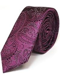 schmale Mexx Krawatte Seide flieder lila Paisley-Muster