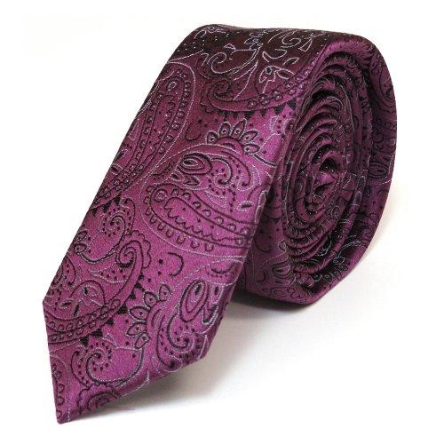 Mexx schmale Seidenkrawatte Seide flieder lila Paisley-Muster - Krawatte Seide Tie