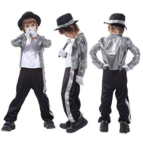 Jackson Michael Zubehör Kostüm - Gift Tower Kostüm Kinder Fasching Halloweenkostüm Verkleidung Kostüm Michael Jackson Jungen Silber M/für 110-120cm