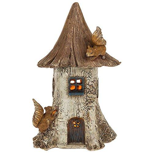 Lumineux à énergie solaire fée maison/séjour pour décoration de jardin avec les écureuils