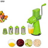#8: QUQO™ Premium Quality 4 in 1 Rotary Drum Juicer, Grater, Shredder and Mandoline Slicer for Vegetables, Fruits, Dry Fruits, Coconut, Chocolate, Nuts and Cheese. Made of High Quality Plastic and Ultra Sharp Durable Stainless Steel Blades. (Random Colour, Orange, Green)