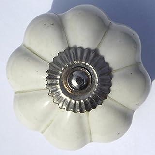 ONE DAY SALE - Set aus 4 keramischen weißen Kürbis dekorative antike Türknöpfe - zieht für Schrank / Mädchen Dresser / Kinder Schrank / Küche Schublade Griffe mit Hardware befestigt (weiß)
