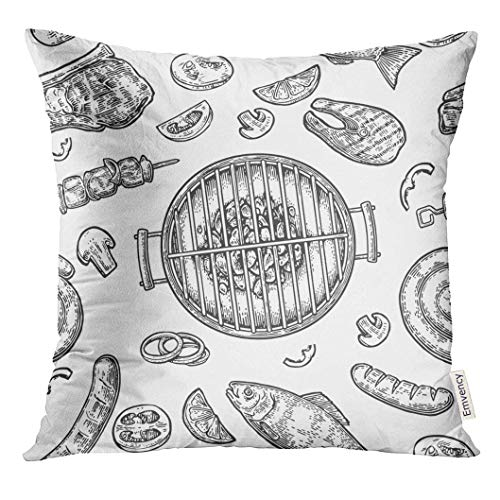 Throw Pillow Cover Barbecue Grill Top View with Charcoal Mushroom Tomato Pepper Sausage Lemon Kebab Fish and Beef Steak Decorative Pillow Case Home Decor Square 18x18 Inches Pillowcase (Top-halloween-filme Kids Für)