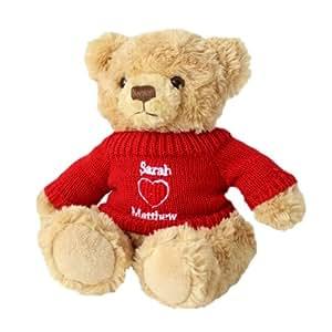 Ours en peluche–Un mignon ours personnalisé avec un coeur love Pull Rouge–Un Cadeau Doudou et respectueux pour ST VALENTIN.