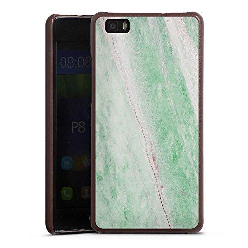 DeinDesign Huawei P8 lite (2015-2016) Lederhülle braun Leder Case Leder Handyhülle Marble Trend frühling