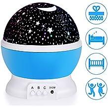 Lampada Proiettore Stelle, Ubegood Luce Proiettore Lampada 360 di rotazione Lampada di Illuminazione Notturna LED Proiettore Stellate Cosmos Regali di Natale Bambini Compleanni Feste - Blu