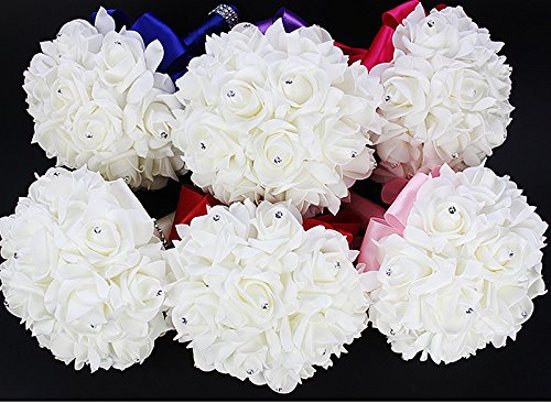 Cosanter – Ramo de flores para decoración de boda, para novia, con rosas artificiales, hecho a mano, Amarillo limón, talla única
