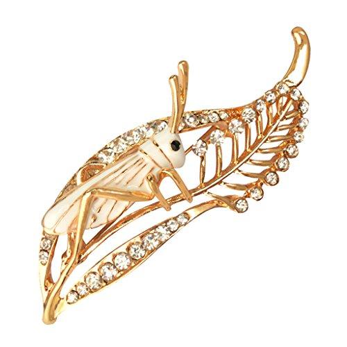 MagiDeal Elegante Locust Cricket-Stil Glaskristallsteine Brosche Schmuck - Weiß Cricket-stil