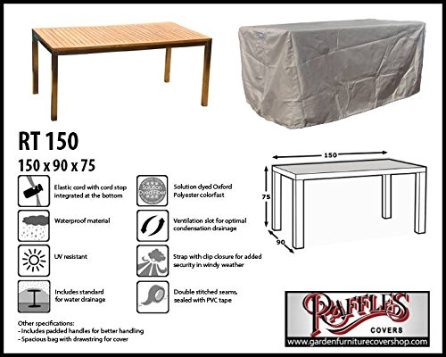 RT150 Schutzhülle für rechteckige Gartentisch, passt am besten am Tisch von max. 150 x 80 cm...