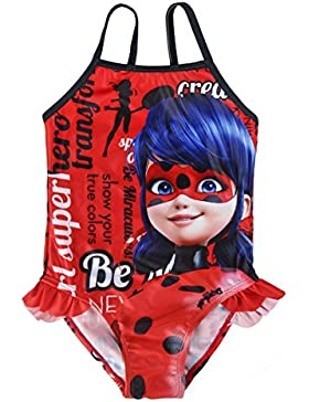 Miraculous, Le storie di Ladybug e Chat Noir 2200002741 Costume Intero, con Volant, Bambina, Rosso