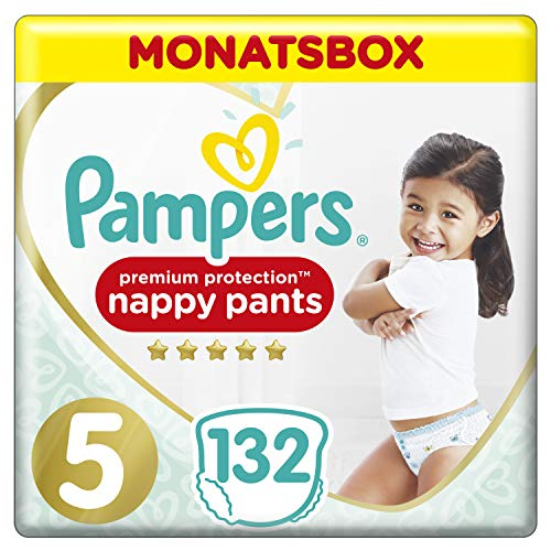Pampers Premium Protection Pants, Gr. 5, 12-17kg, Monatsbox, 1er Pack (1 x 132 Stück)