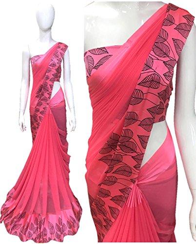 High Glitz Fashion Women's Georgette Multi-Color Sartin Print border New Latest Festival...