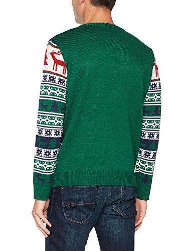 NIZZIN Unisex Weihnachtspullover Elm 6F0370 - 1, Gr. Large, Grün (Green 19-5420) - 2