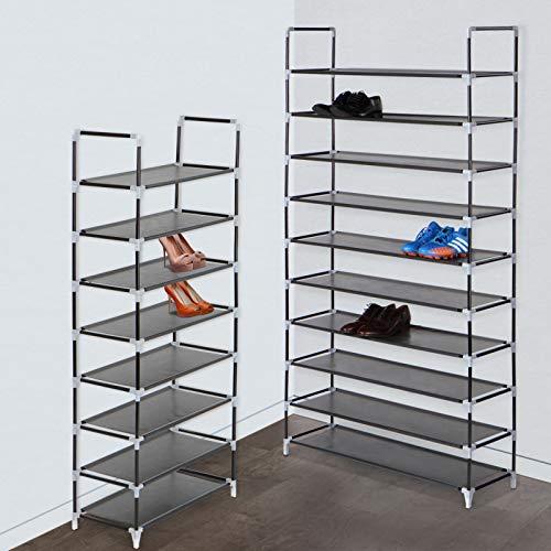 MIADOMODO Schuhregal Schuhschrank XL | 10 Ebenen für 60 Paar Schuhe | aus Stahl + Stoff | Schuhablage, Stoffregal, Stoffregal, Schuhständer
