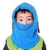 TININNA Face Cou Masque Cagoule Coupe-vent Protection Couvertures Crâne Cache-Cou Calotte Casque pour Enfants Bébé Sports Extérieurs Cyclisme Ski Snow Vélo Bleu