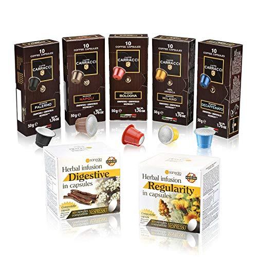 Caffè carracci e tisane sanedia - 110 cialde capsule compatibili nespresso