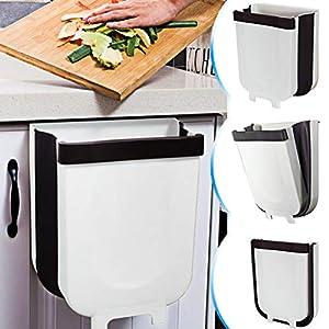 TTMOW Mülleimer Küche Faltbare, Neue Generation 9L Abfalleimer Küche Für Schranktür (Weiß)